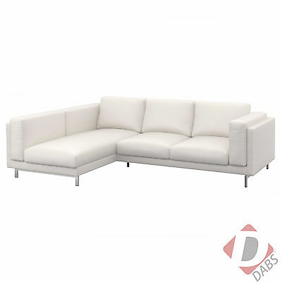 IKEA Nockeby Replacement Sofa & Left Chaise Longue Slip Cover Set Risane White