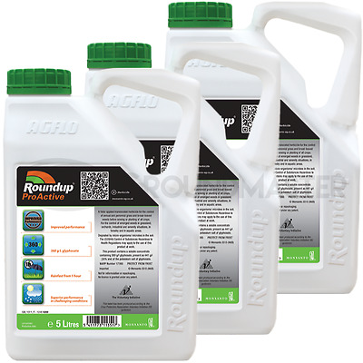 3 x 5L Roundup ProActive 360 Strong Professional Glyphosate Weedkiller