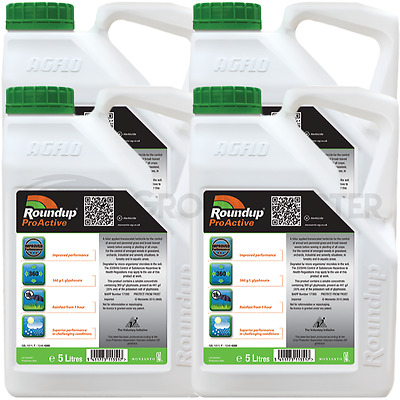 4 x 5L Roundup ProActive 360 Strong Professional Glyphosate Weedkiller