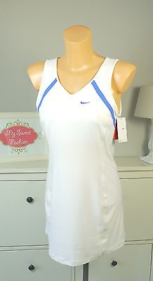 NIKE Sport Kleid Tenniskleid DRI FIT Dress Weiß Blau Bustier Gr. M 38 (DF33)