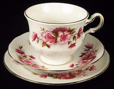 Queen Anne Pretty Pink Flowers Cup/Saucer/Plate Trio