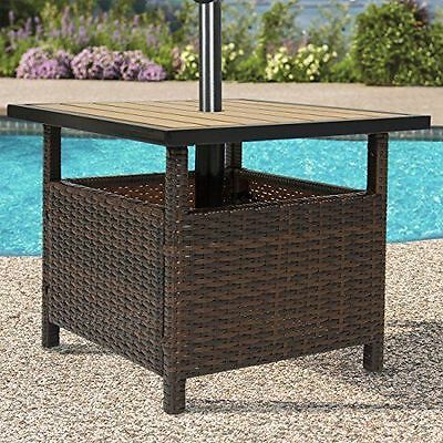 Wicker Umbrella Side Table Crafted Patio Stand Outdoor Furniture Home Pool Deck
