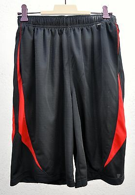 Nike Boys Basketball Shorts Size L Black Red Casual Youth 14-16 Strings Pockets
