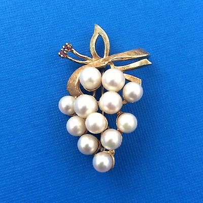 Vintage 14k Gold Grape Pearl Cluster Pin Bow Brooch With Rubies