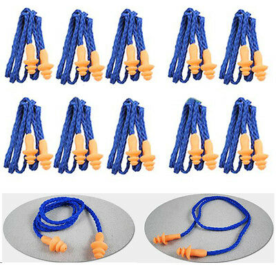 10pcs Reusable Hearing Protection Earplugs Corded Safety Soft Silicone Ear Plugs
