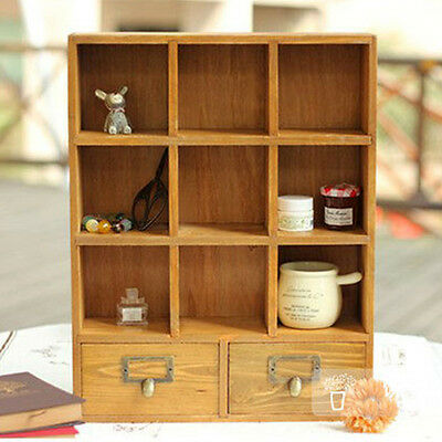 Retro Vintage Wood Curio Cabinet Wine Perfume Display Cases Wall Shelf w Drawers