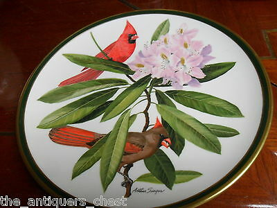 """""""SONGBIRDS OF THE WORLD"""" FRANKLIN PORCELAIN/ Wedgwood  plate """"CARDINALS""""[*14b"""