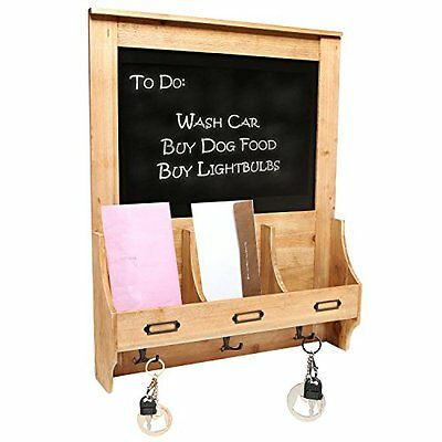 Blackboard Letter Key Holder Wall Organizer Mail Mount Storage Hook Wood Office