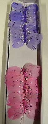12 x Feather Butterflies on Wire - 2 different colours Pink and Mauve (Code 18 )