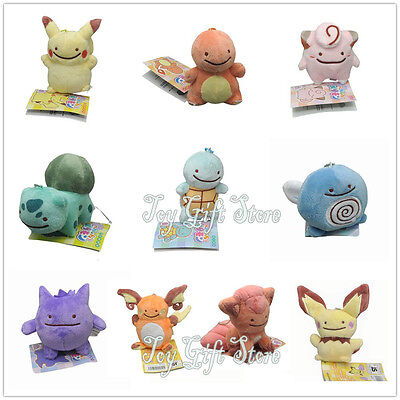 "Pikachu Bulbasaur Squirtle 3.5"" Ditto Metamon Poke Keychain Plush Doll"