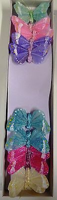 12 x  Feather Butterflies on Wire -  6 Colours  inc. pastels (Code 36 )