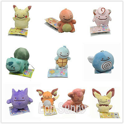 "Pikachu Poliwag Vulpix 3-3.5"" Ditto Metamon Pocket Monsters Keychain Plush Doll"