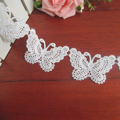 1yard Vintage Butterfly Bow Lace Trim Ribbon Wedding Applique Sewing Diy Craft