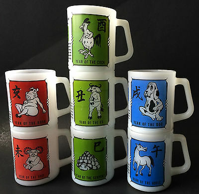 Federal Glass Chinese Zodiac - Horoscope - Astrology Mugs Cups Serpent Horse Dog
