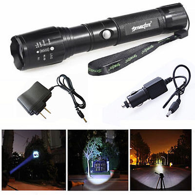 Rechargeable XML-T6 5000LM Flashlight Torch Lamp 5 Modes + AC / Car Charger