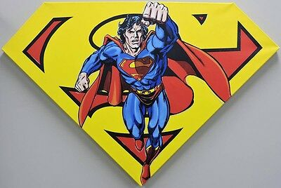"ESS135. STEVE KAUFMAN Hand Signed ""SUPERMAN SHIELD YELLOW"" L/E #74/100 Pop Art"