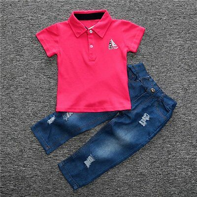 2pcs Toddler Kids Baby Boys Shirt T-shirt Tops+Denim Pants Outfits Clothes Set