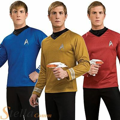 Adult Mens Deluxe Star Trek Shirts Movie Fancy Dress Costume Adult Outfit