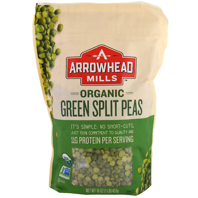 New Arrowhead Mills Organic Green Split Peas Fiber Natural Healthy Food Daily