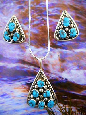 Native American Navajo Turq Cluster Pendant & Earrings By Irvin Chee-Tb137