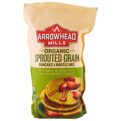 New Arrowhead Mills Organic Sprouted Grain Pancake & Waffle Mix Fiber Daily Food