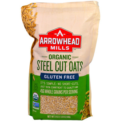 New Arrowhead Mills Gluten Free Steel Cut Oats Hot Cereal Protein Fibers Food