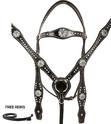 Used Western Show Headstall Reins Breast Collar Trail Black Leather Tack Bling