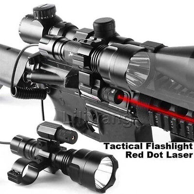 Red Laser Sight + Cree Led Flashlight + Tactical Scope Mount + Remote Switch