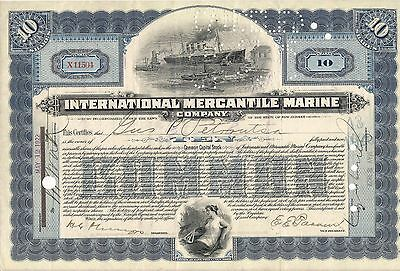 International Mercantile Marine stock certificate blue signed JMorgan by clerk