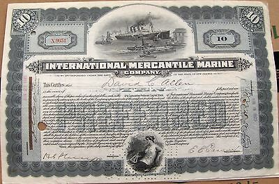 International Mercantile Marine stock certificate 1920-21 signed by Morgan J.P.
