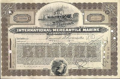 International Mercantile Marine stock certificate 1920 sign. JP Morgan by clerk