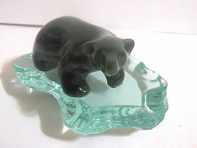 "Vintage Hand - Carved Nephrite Jade Polar Bear on ""Ice Floe"" Cassiar (?)"