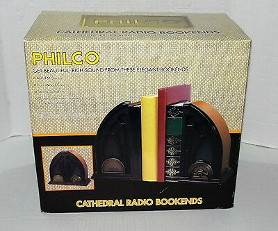 Philco Cathedral Retro Style Bookends AM/FM Radio Battery Operated - NEW!