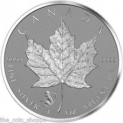 2016 1 oz Monkey Privy Canadian Silver Maple Leaf Reverse Proof Coin QUADRUM CAP