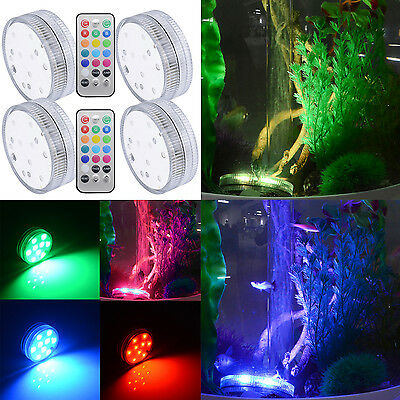 9 LED Lampe d'Aquarium Submersible + Télécommande Batteries-Alimenté pr Poisson