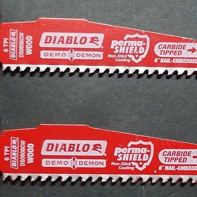 "2 x DIABLO 6""-150mm CARBIDE ""Shop Soiled"" DS0606CW 6 TPI Reciprocating Saw Blade"