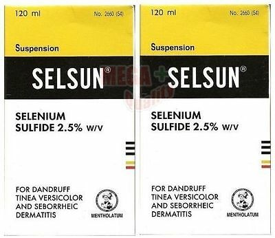 2 x 120 ml SELSUN Anti Dandruff Shampoo TREATMENT SELENIUM SULFIDE