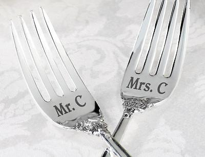 Personalized Custom Silver Plated Wedding Cake His Hers Mr Mrs Forks