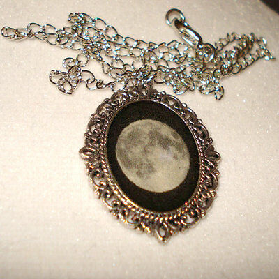 Full Moon Necklace Pendant Jewelry Antique Silver Black And Grey