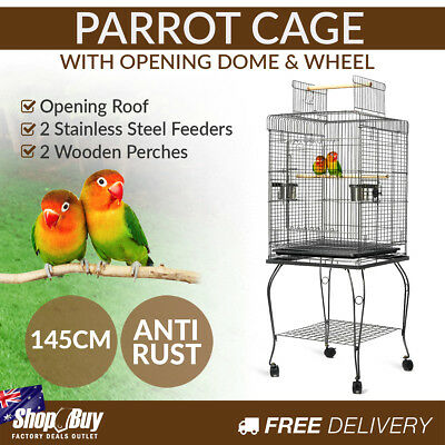 New 145cm Bird Cage Canary Parrot Budgie Pet Aviary Stand Wheel Open Roof Black