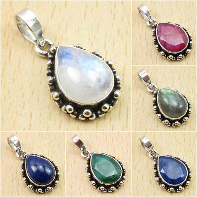925 Silver Plated OXIDIZED Pendant ! RAINBOW MOONSTONE & Other Stones Variation