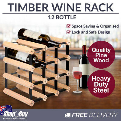 12 Bottles Timber Wine Rack Wooden Shelf Cellar Storage Vintry Stand Cabinet
