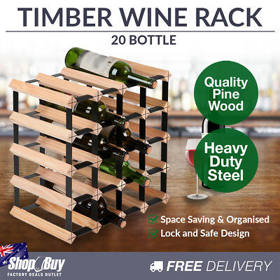 20 Bottles Timber Wine Rack Wooden Shelf Cellar Storage Vintry Stand Cabinet