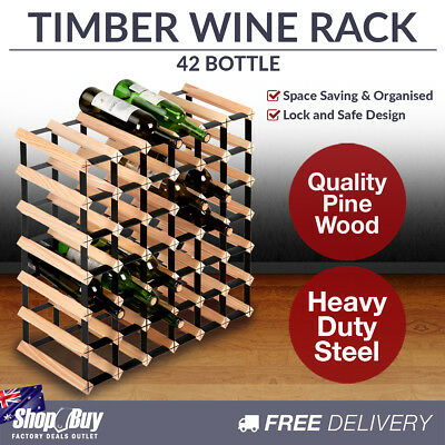 42 Bottles Timber Wine Rack Wooden Shelf Cellar Storage Vintry Stand Cabinet