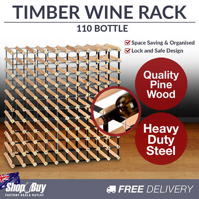 110 Bottles Timber Wine Rack Wooden Shelf Cellar Storage Vintry Stand Cabinet