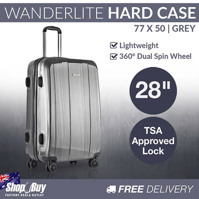 28in Hard Shell Luggage 4 Wheels Suitcase TSA Lock Travel Carry On Bag Grey