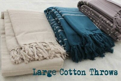 Large Cotton Throw, Bed Cover: Blue, Brown or Beige Stripe Sofa Bed Throw Kerla
