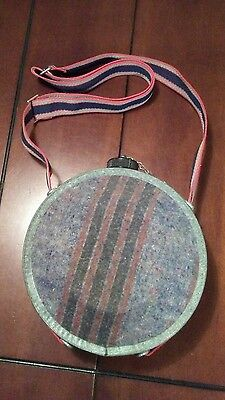 """Vintage Metal Boy Scout Canteen With Wool/flannel Sides, 7-1/2"""" Round"""