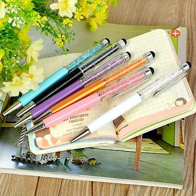 3pcs New Diamond Crystal Pen Glittering Ballpoint Stylus Touch Stationery Gift