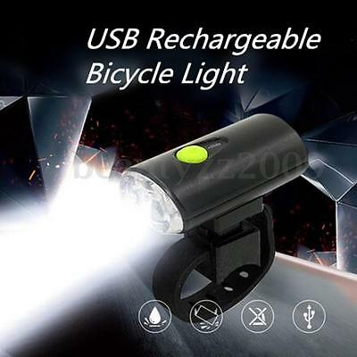 2 LED 350LM USB Rechargeable Bike Cycling Bicycle Front Light Lamp w/ Battery